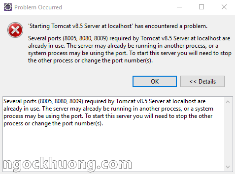 Lỗi Tomcat: Several ports (8005, 8080, 8009) required by Tomcat Server at localhost are already in use